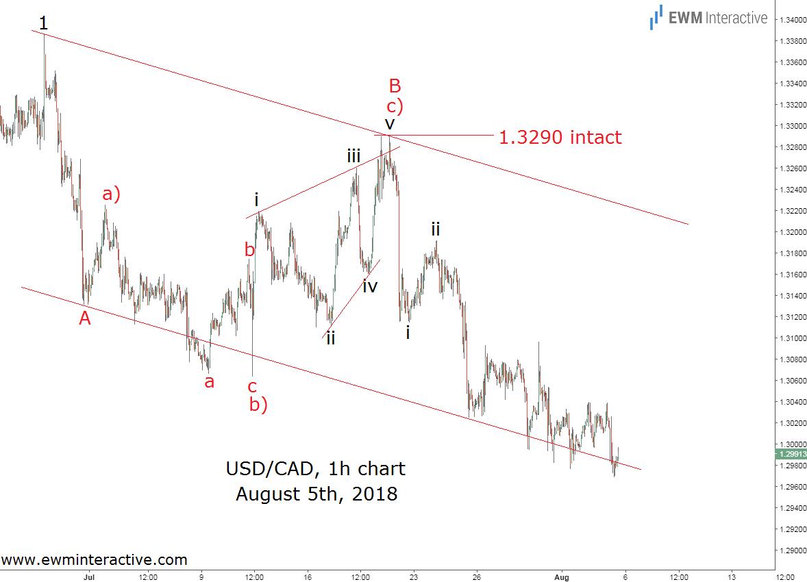 USDCAD Elliott wave analysis update