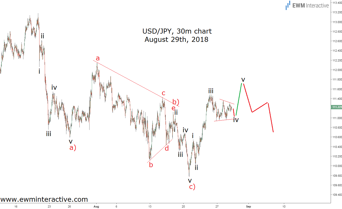 USDJPY Elliott Wave analysis August 29th